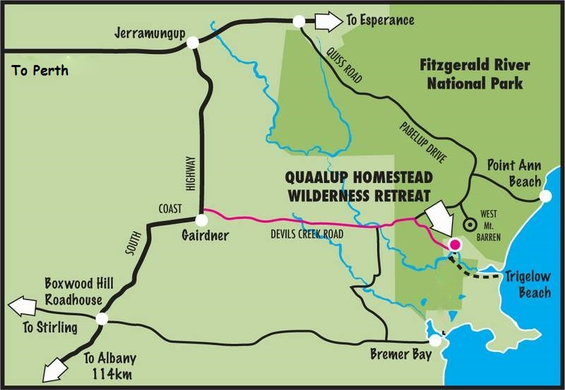 Western Australia 4wd Map.Access Map To Quaalup Homestead Wilderness Retreat